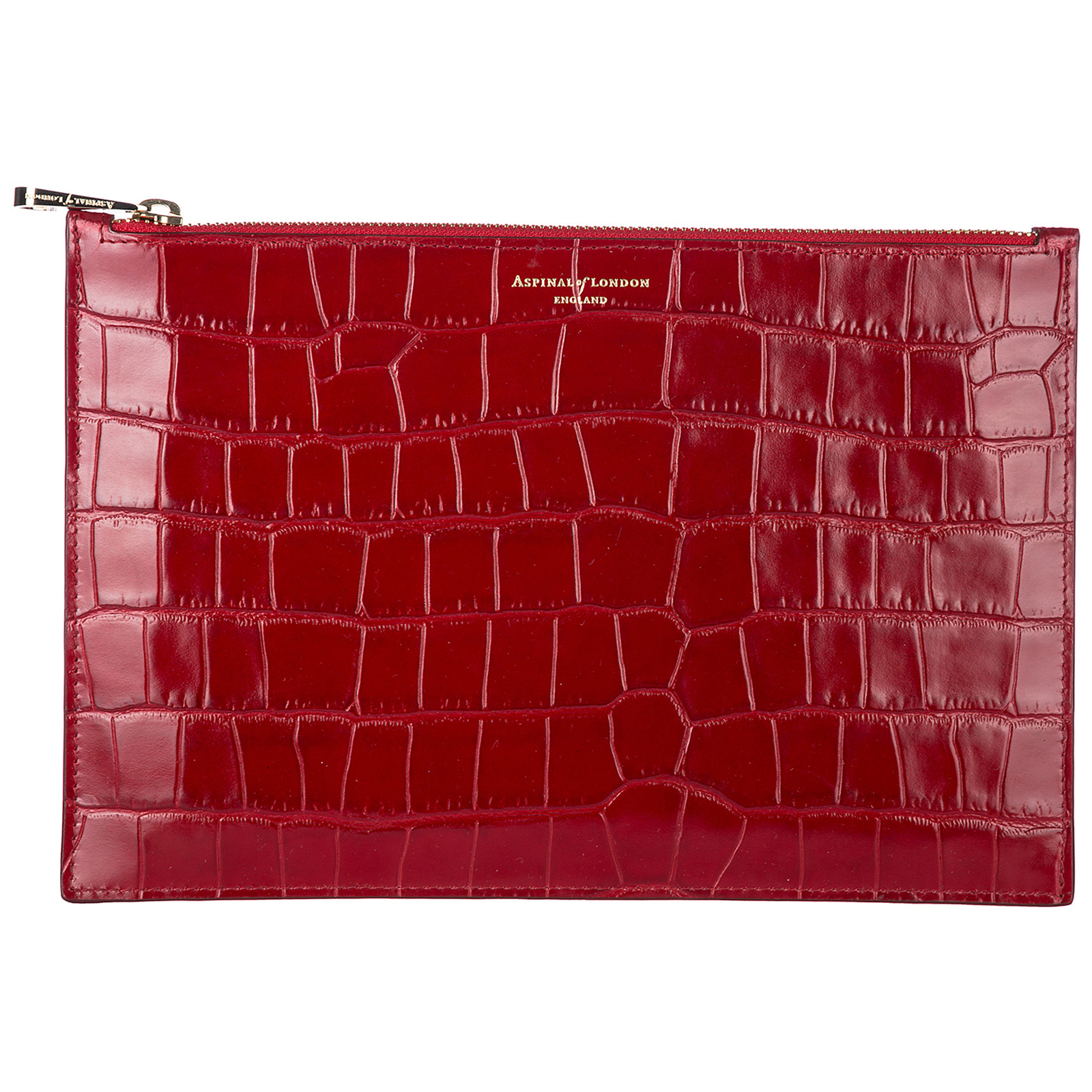 red clutch bag